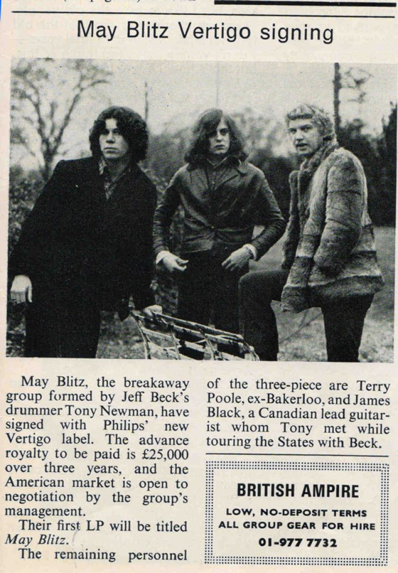 "Looking for a "" Gig "" moving to London October 1969"